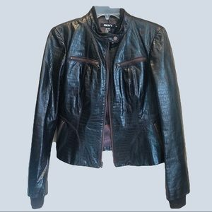 Vintage DKNY women's genuine leather jacket